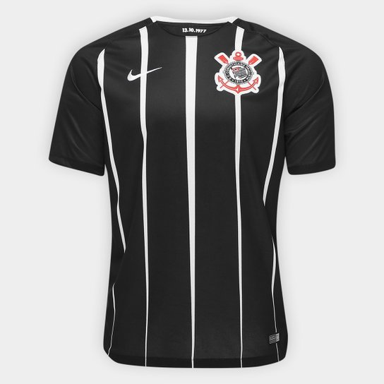 d1ac7285b Camisa Corinthians II 17 18 s nº Torcedor Nike Masculina - Preto+Branco