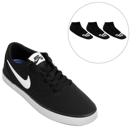 5797c47c80 Kit Tênis Nike Sb Check Solar Cnvs + Pack Meia Nike Cano Baixo SB 3 Pares