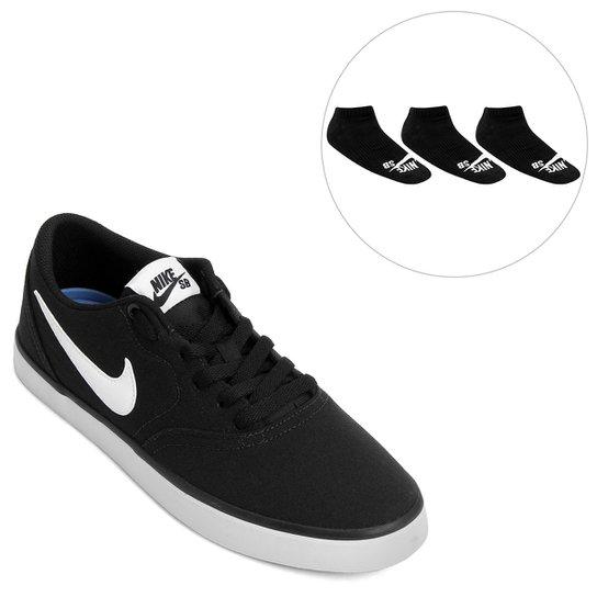 0592dce41e6 Kit Tênis Nike Sb Check Solar Cnvs + Pack Meia Nike Cano Baixo SB 3 Pares