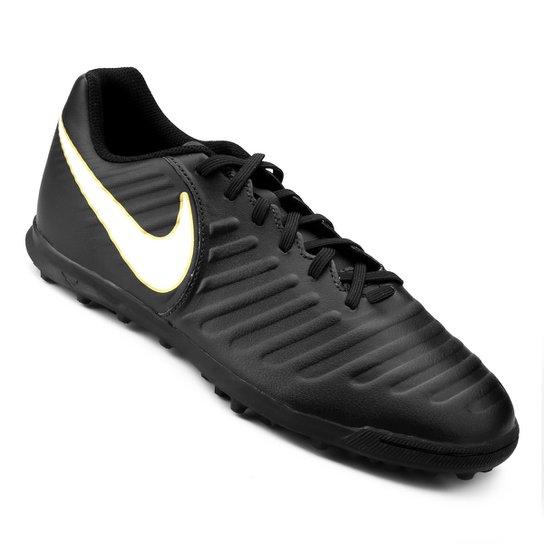 Chuteira Society Nike Tiempo Rio 4 TF - Preto e Branco - Compre ... 45d2fbf4e62ab