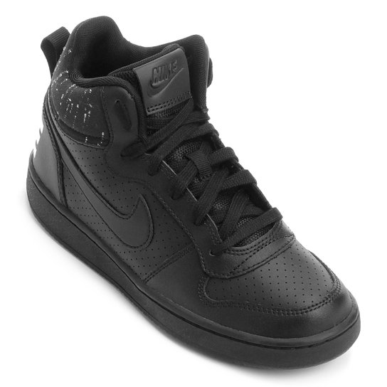 977133075b789 Tênis Infantil Couro Cano Alto Nike Court Borough Mid Se Masculino -  Preto+Branco