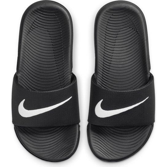 f941b1253abd Sandália Infantil Nike Kawa Slide Feminina - Preto e Branco - Compre ...