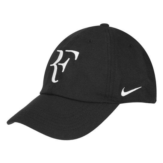 1af0ff1c6e8b7 Boné Nike Aba Curva Aerobill Federer H86 - Preto e Branco - Compre ...