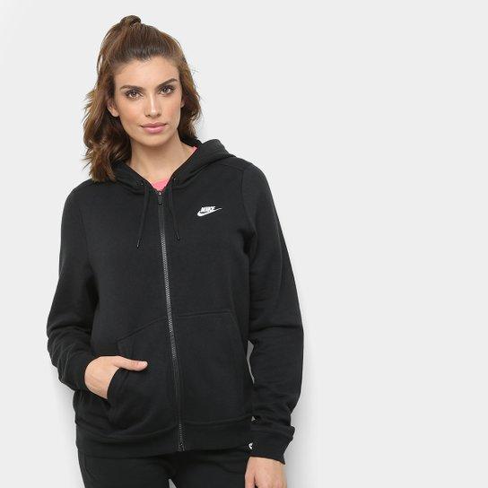 ac6031ce5a012 Jaqueta Nike Hoodie Fz Flc Feminina - Preto e Branco - Compre Agora ...