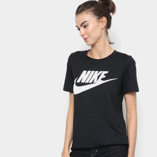 0ce7e9404cac3 Camiseta Nike Essential Feminina - Preto e Branco - Compre Agora ...