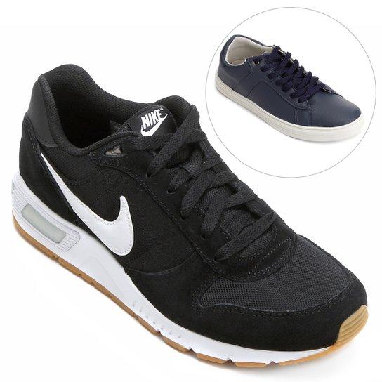 df204bbb45 Kit Tênis Nike Nightgazer+ Sapatênis Burn Bray Masculino - Preto+Branco