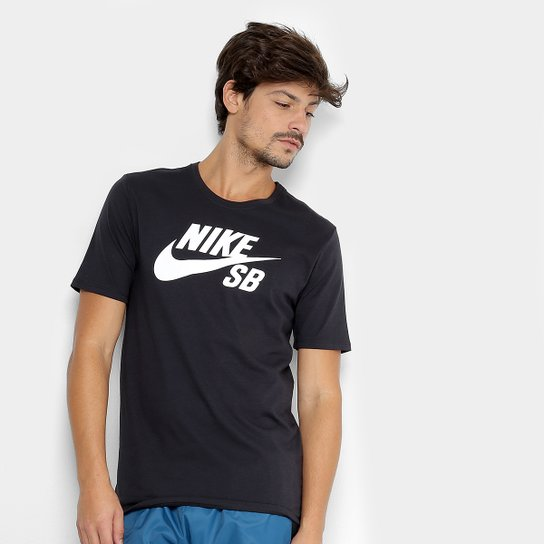 d369e3be5f Camiseta Nike Sb Logo Masculina - Preto e Branco - Compre Agora ...