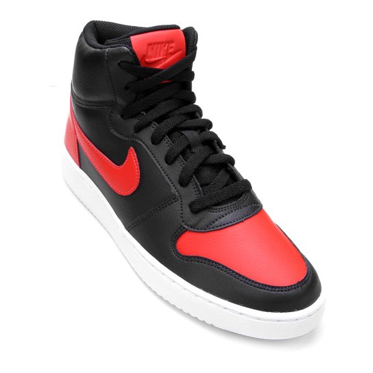 b173ed9ad39 Tênis Couro Cano Alto Nike Ebernon Mid Masculino - Preto e Vermelho ...