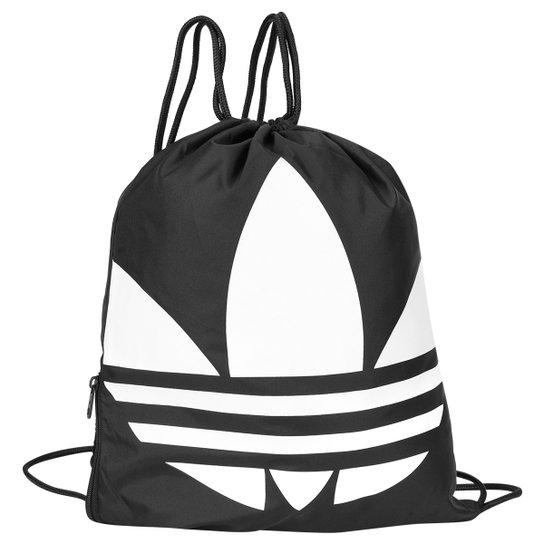 53d3b169a Bolsa Adidas Saco Originals Gymbag Trefoil - Preto+Branco