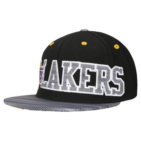 Boné Adidas NBA Flat Los Angeles Lakers - Preto e Cinza - Compre ... c41dc8e6555