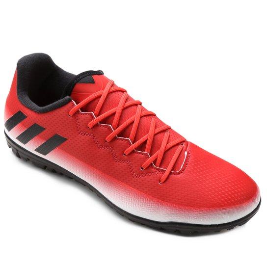 Chuteira Society Adidas Messi 16.3 TF Masculina - Vermelho e Branco ... 996ed64cf3c48