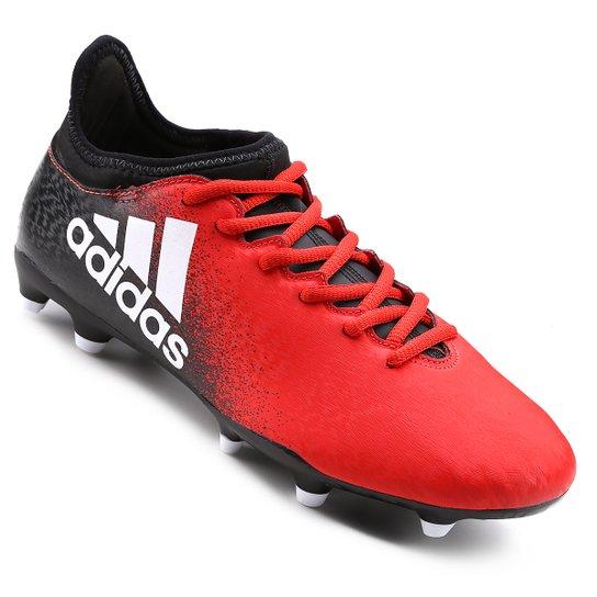 Chuteira Campo Adidas X 16.3 FG Masculina - Vermelho+Preto 86a1c34a285a1