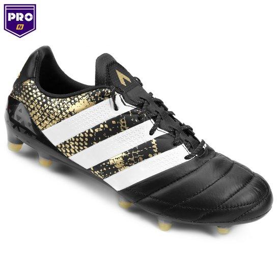 best authentic fb166 63bc2 Chuteira Campo Adidas Ace 16.1 Couro FG Masculina - Preto+Branco