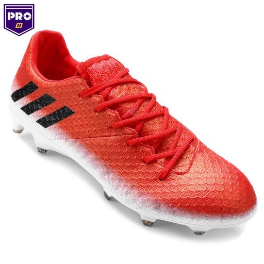 Chuteira Campo Adidas Messi 16.1 FG Masculina - Vermelho+Branco 2d5af13186a1c