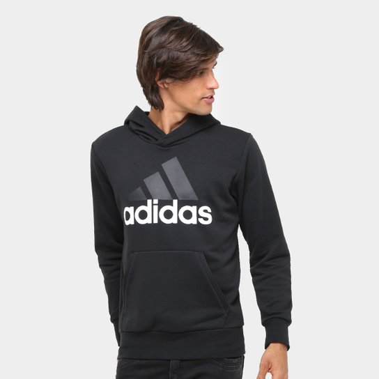 ee661286bca Moletom Adidas Essentials Linear Pullover French Terry C  Capuz - Preto+ Branco