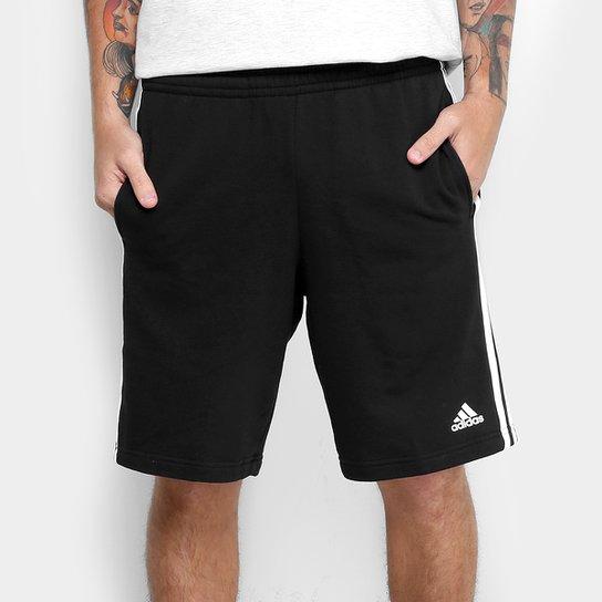 18f8dab22e4 Bermuda Adidas Essential 3S Coft Masculina - Preto e Branco - Compre ...