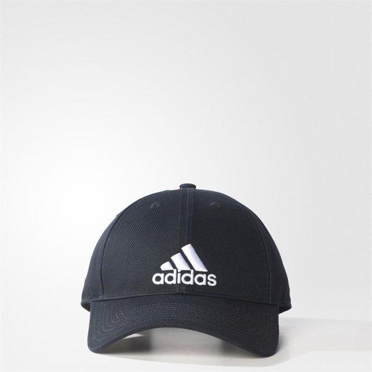 Boné Adidas Aba Curva Essential Cotton Masculino - Preto e Branco ... d4de434314aa1