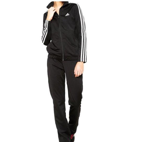 Agasalho Adidas Back 2 Basic 3S Feminino - Preto e Branco - Compre ... 8be165dea7fb3