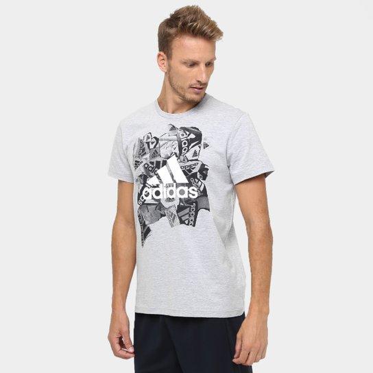 Camiseta Adidas Badge Of Sports Masculina - Cinza e Branco - Compre ... 7e8ba01ead6