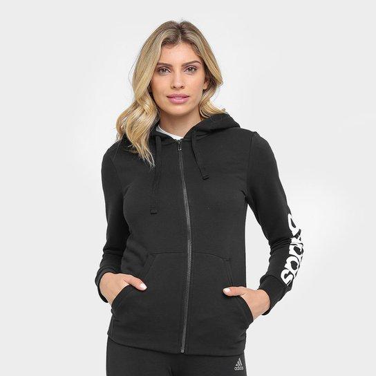 398e7238043 Moletom Adidas Essentials Linear Fullzip Feminino - Preto e Branco ...