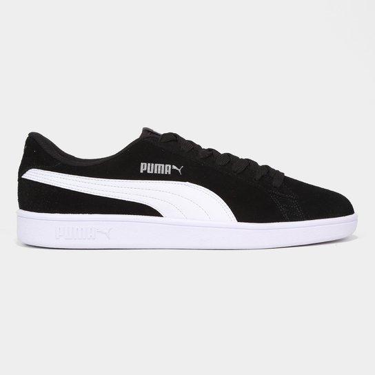 e55ad89f64 Tênis Couro Puma Smash V2 - Preto e Branco - Compre Agora