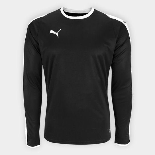 Camiseta Puma Liga Jersey Manga Longa Masculina - Preto e Branco ... 8cb530c994987