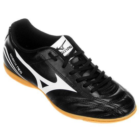 d11dde8e8fb51 Chuteira Futsal Mizuno Morelia Neo Club IN - Preto e Branco - Compre ...