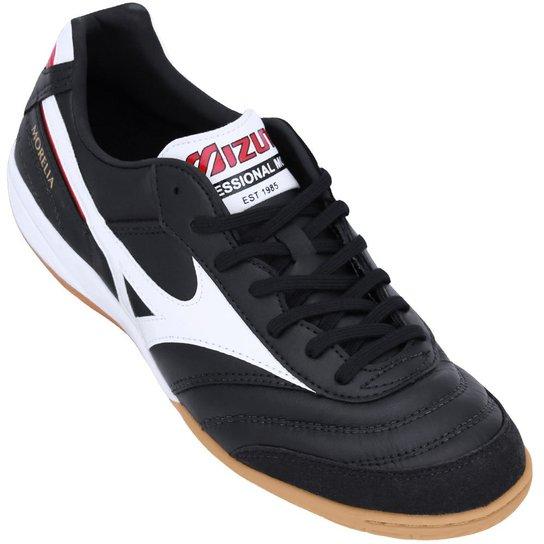 52ae61dd80017 Tênis Mizuno Futsal Morelia Indoor Elite II - Preto e Branco ...