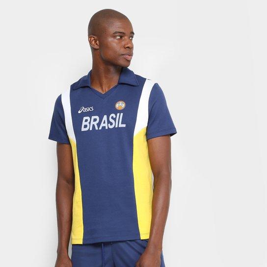 c3bf6a9c3d Camiseta Polo Vôlei Retro Asics Masculina - Marinho+Amarelo