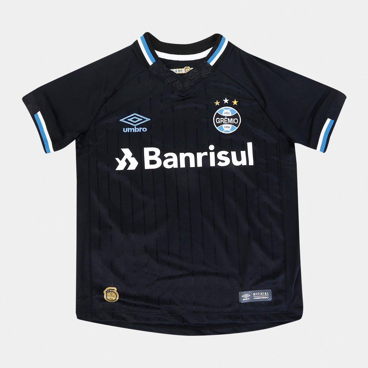 Camisa Grêmio III 2018 s n° Torcedor Umbro Infantil ae11fd3f4fae7