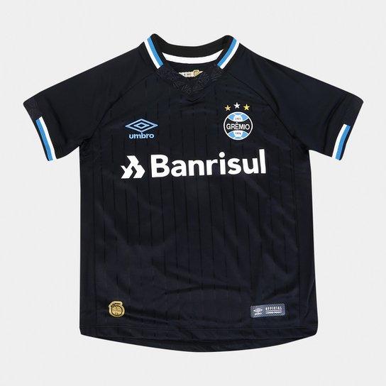 Camisa Grêmio III 2018 s n° Torcedor Umbro Infantil - Preto e Branco ... 58d7113f7f591