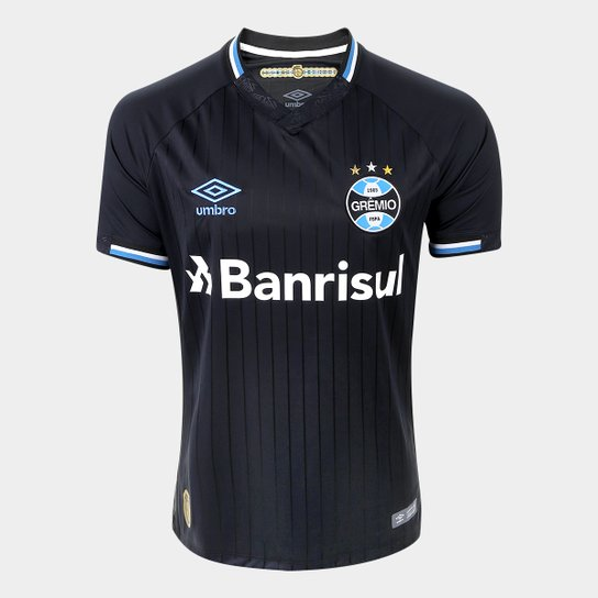 8d5bf9366c634 Camisa Grêmio III 2018 s n° Torcedor Umbro Masculina - Preto+Branco
