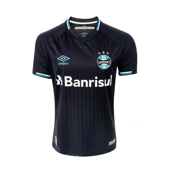 0e51a25b60 Camisa Umbro Masculina Grêmio Oficial 3 2018 C/Nº 10 - Preto+Branco
