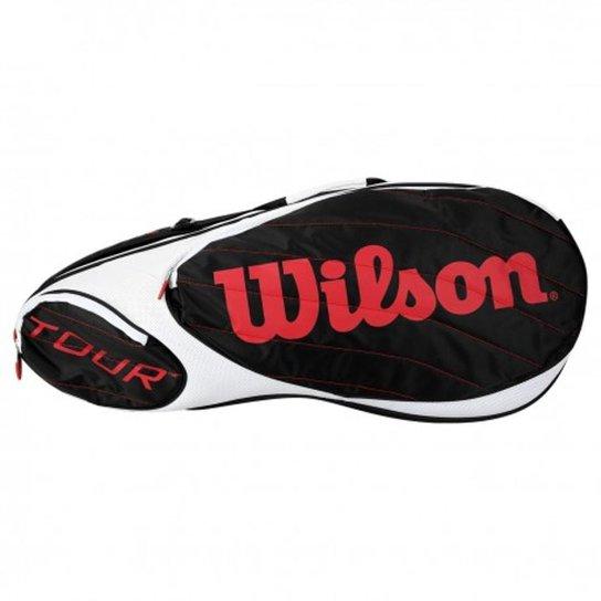 d0747be3c Raqueteira Wilson Tour X6 Preta Branca e Vermelha - Preto e Branco ...