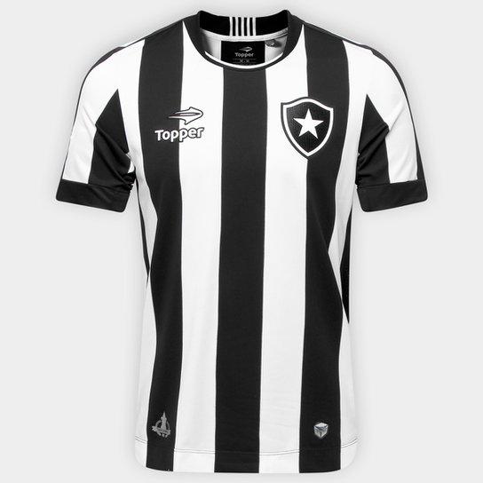 55e9b42f1f Camisa Botafogo I 2016 s nº Torcedor Topper Masculina - Preto+Branco