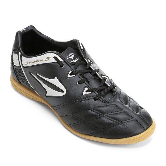 2fc0a659f Chuteira Futsal Topper Champion 5 - Preto+Branco