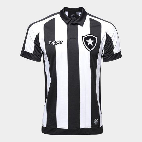 eefdfb5a42d29 Camisa Botafogo I 17 18 s nº Torcedor Topper Masculina - Preto+Branco