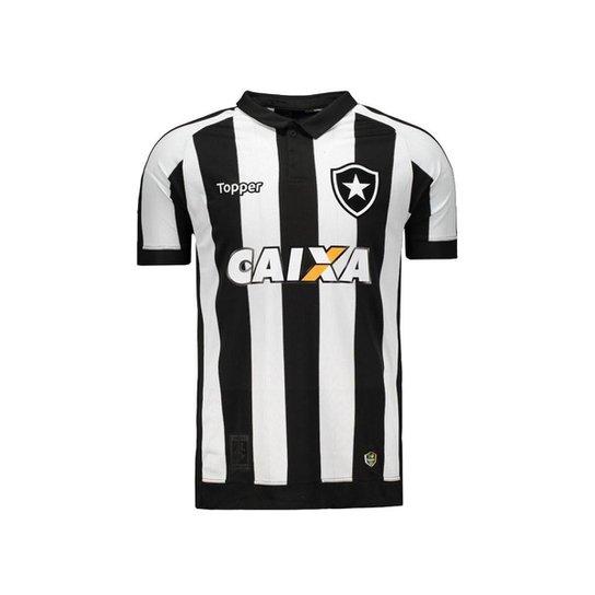 Camisa Topper Botafogo I 2017 Patrocínio 4200982 - Preto e Branco ... fb8d041be3976