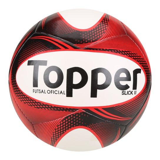 3249a1256f Bola Futsal Topper Slick II - Preto+Branco