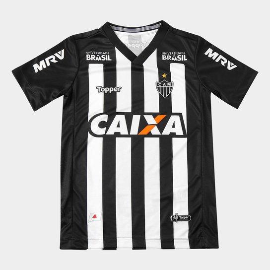 4416872b6c4c2 Camisa Atlético-MG Infantil I 2018 S N° Torcedor Topper - Preto e ...