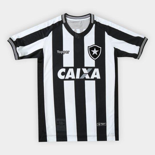 46cb98dd94 Camisa Botafogo I 2018 s n° Torcedor Topper Infantil - Preto+Branco
