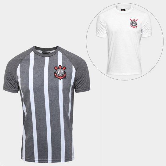 Kit Camisa Corinthians Retrô + Camisa Corinthians Réplica 1979 -  Cinza+Branco 62b0e8f9b6470