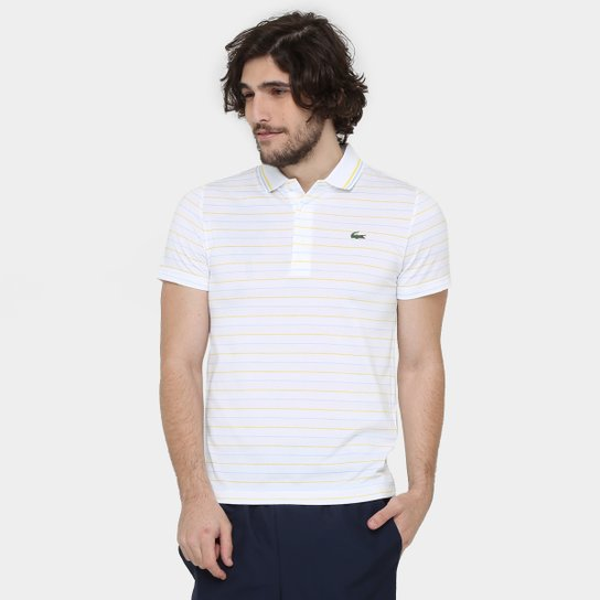 11f838be9d28a Camiseta Polo Lacoste-DH5751-21 - Branco e Amarelo - Compre Agora ...