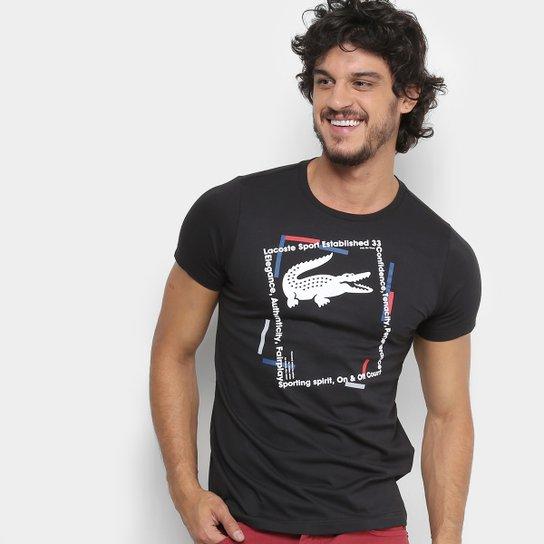 8150930382 Camiseta Lacoste Casual Masculina - Preto e Branco - Compre Agora ...