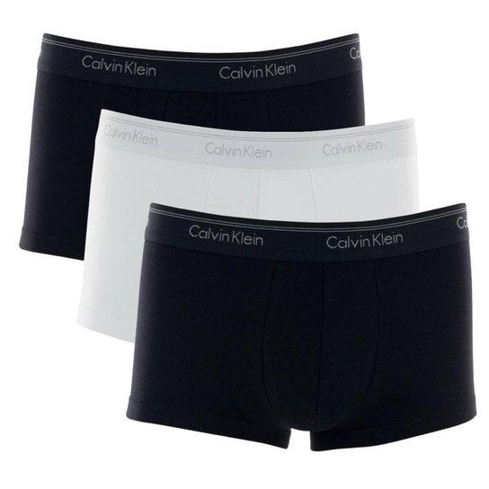 33a2fe2338705e Kit 3 Cuecas Boxer Calvin Klein Low Rise Trunk Algodão Cotton CK - Preto e  Branco