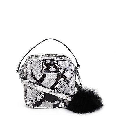 Bolsa Couro Luz da Lua Mini Bag Luccido Serpente Pompom Feminina