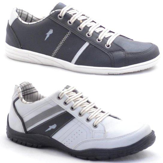 79ae056fd7eaa Kit Sapatênis Polo Blu Casual Masculino - Cinza e Branco - Compre ...