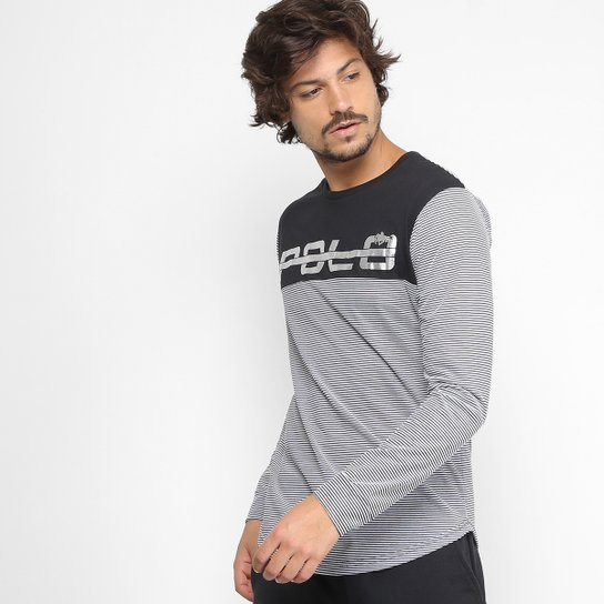 8d85714221 Camiseta RG 518 Manga Longa Listras Recorte Foil Masculina - Preto+Branco