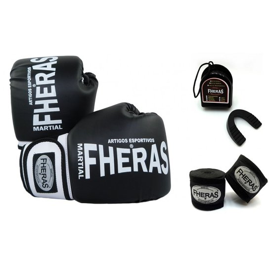 0602ee78a Kit Fheras Luva de Boxe   Muay Thai Orion 12 oz + Bandagem + Bucal ...
