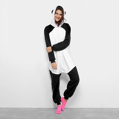 Pijama Infantil Longo Kigurumi Panda 3D Feminino